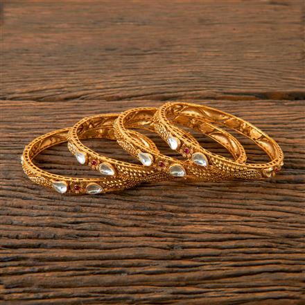 202839 Antique Delicate Bangles with Matte Gold Plating