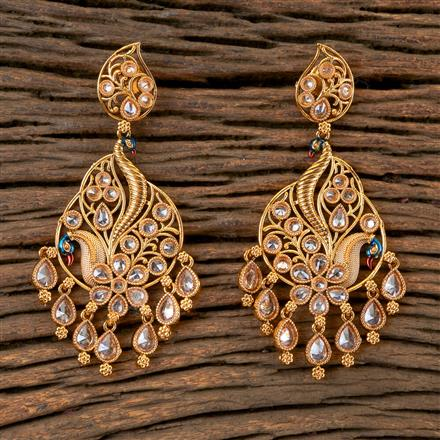202847 Antique Peacock Earring with Gold Plating