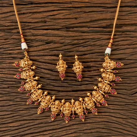 202848 Antique Temple Necklace with Matte Gold Plating