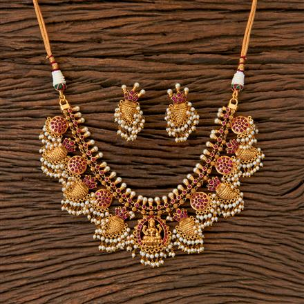 202849 Antique South Indian Necklace With Matte Gold Plating