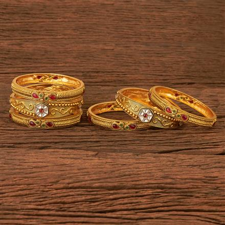 202850 Antique Classic Bangles with Matte Gold Plating