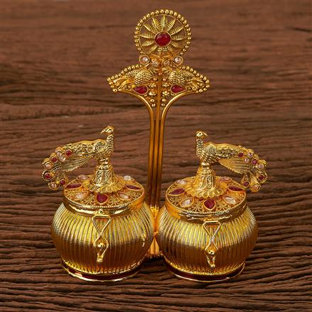 202861 Antique Classic Sindoor Box with Gold Plating