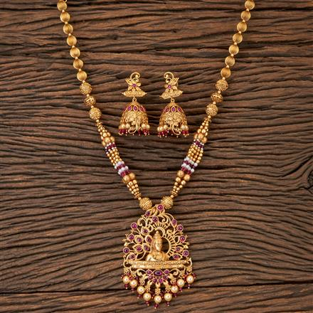202902 Antique Temple Pendant set with Matte Gold Plating