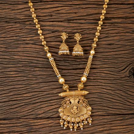 202903 Antique Peacock Pendant set with Matte Gold Plating