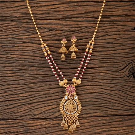 202904 Antique Mala Pendant set with Matte Gold Plating