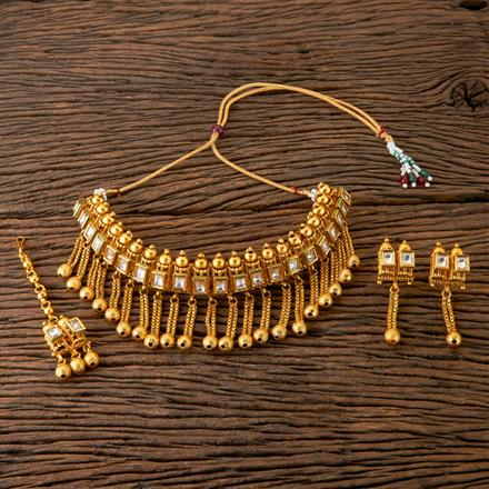 202937 Antique Choker Necklace with Matte Gold Plating