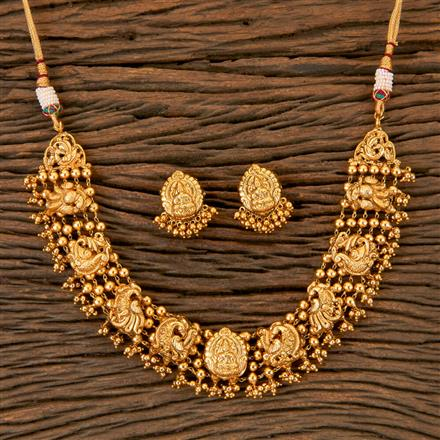 202995 Antique Peacock Necklace with Matte Gold Plating