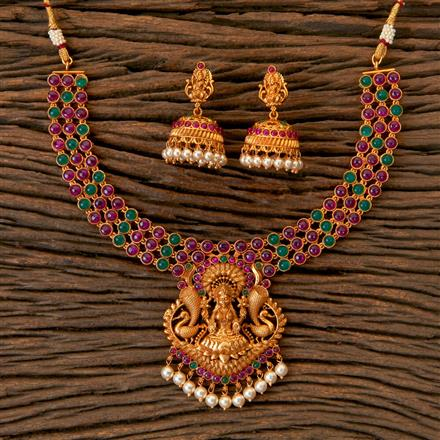 203006 Antique South Indian Necklace With Matte Gold Plating