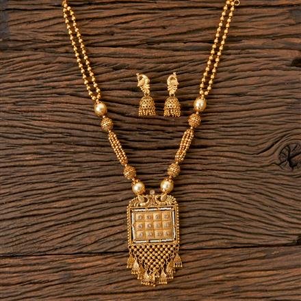 203025 Antique Mala Pendant set with Matte Gold Plating