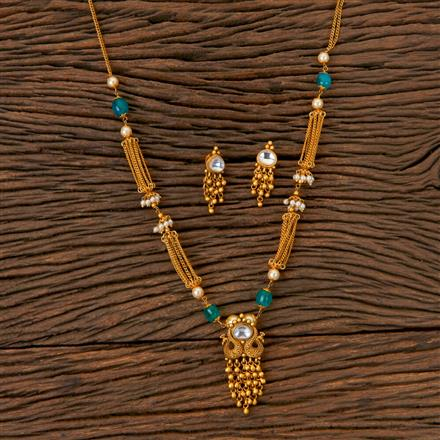 203029 Antique Mala Pendant set with Matte Gold Plating