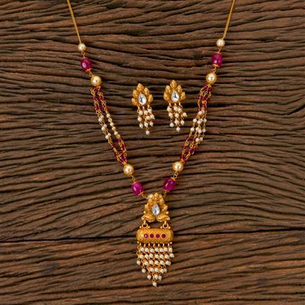203030 Antique Mala Pendant set with Matte Gold Plating