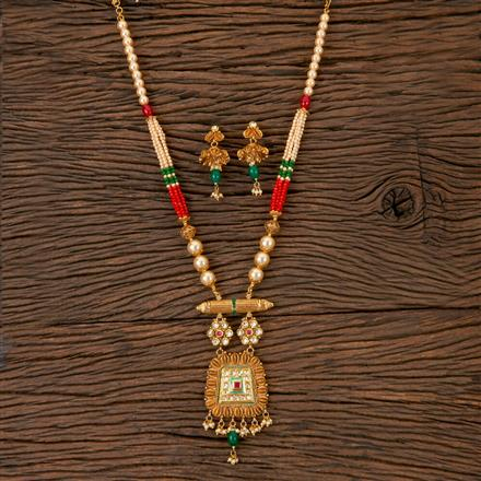 203033 Antique Mala Pendant set with Gold Plating