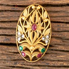 203045 Antique south Indian Brooch with Matte Gold Plating