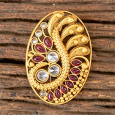 203046 Antique south Indian Brooch with Matte Gold Plating
