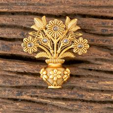 203047 Antique south Indian Brooch with Matte Gold Plating