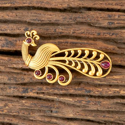 203048 Antique Peacock Brooch with Matte Gold Plating