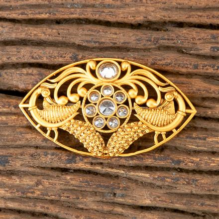 203049 Antique Peacock Brooch with Matte Gold Plating