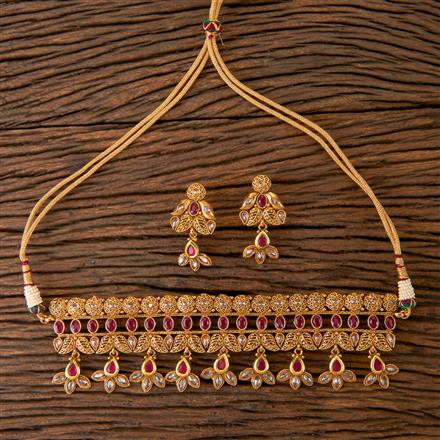 203061 Antique Choker Necklace with Gold Plating