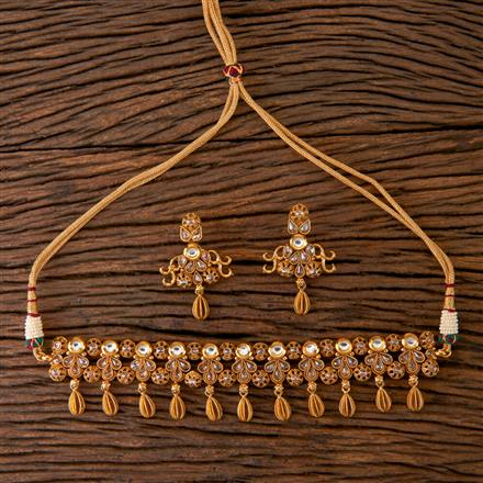 203062 Antique Choker Necklace with Gold Plating