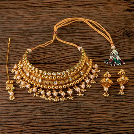203066 Antique Mukut Necklace with Gold Plating