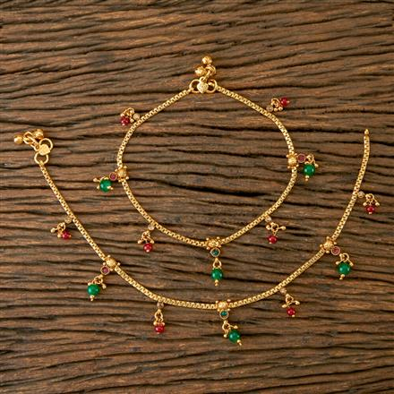 203118 Antique Delicate Payal with Gold Plating