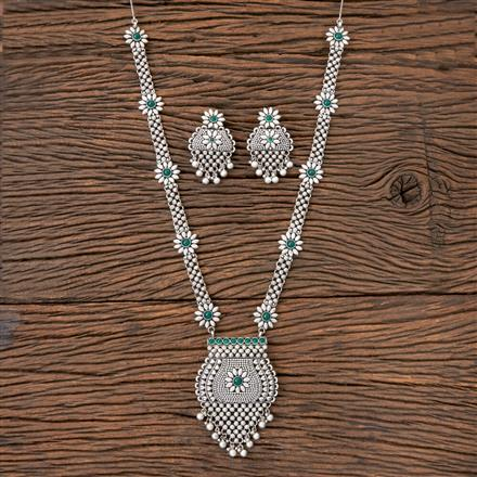 203144 Antique Long Necklace with Matte Rhodium Plating
