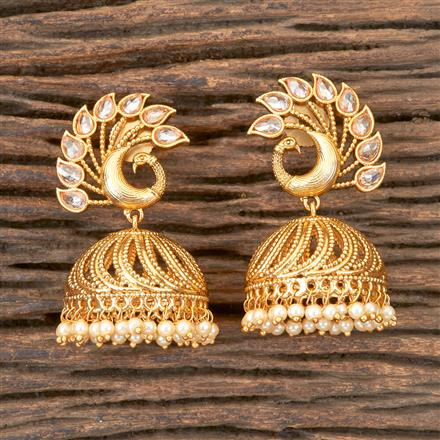 203157 Antique Jhumkis with Gold Plating