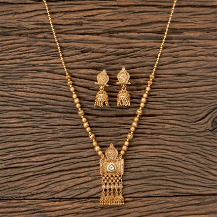 203176 Antique South Indian Pendant Set With Matte Gold Plating