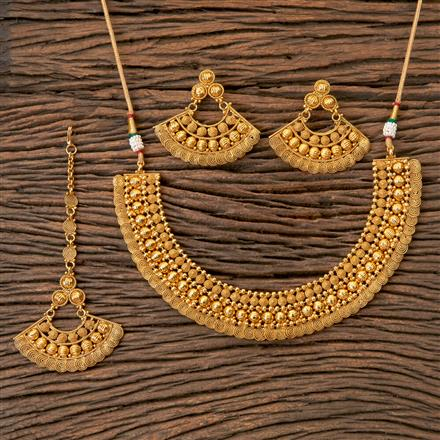203248 Antique Plain Necklace with Gold Plating