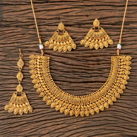 203249 Antique Plain Necklace with Gold Plating