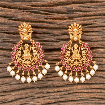 203259 Antique Temple Earring with Matte Gold Plating