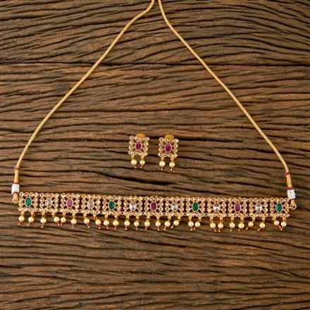 203271 Antique Choker Necklace with Gold Plating