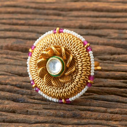 203286 Antique South Indian Ring With Matte Gold Plating