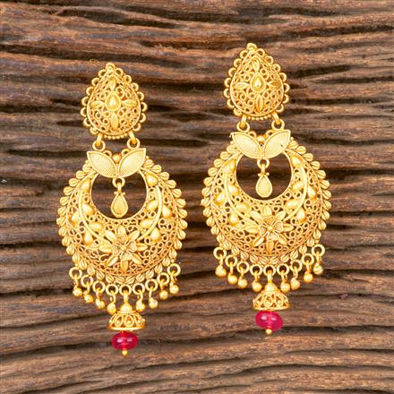 203315 Antique South Indian Earring With Matte Gold Plating