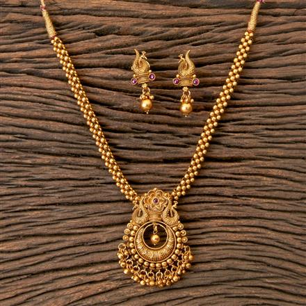 203331 Antique Peacock Necklace with Matte Gold Plating