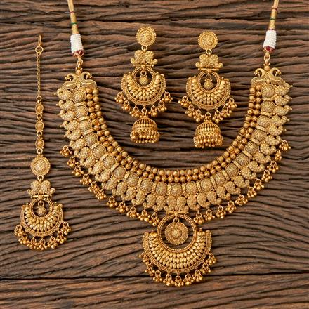 203332 Antique South Indian Necklace With Matte Gold Plating