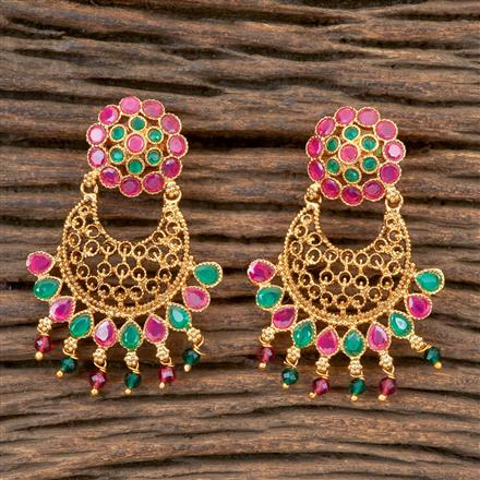203341 Antique Chand Earring With Gold Plating