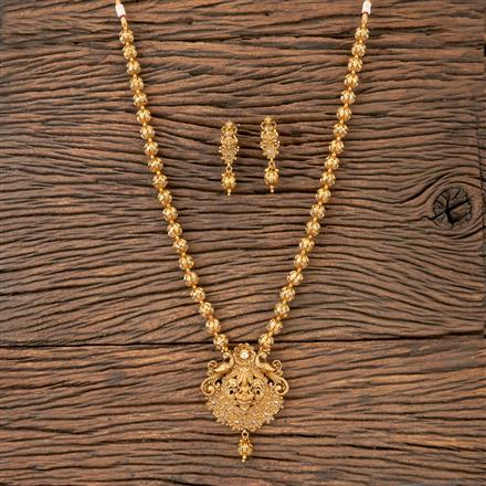 203355 Antique Peacock Pendant Set With Matte Gold Plating