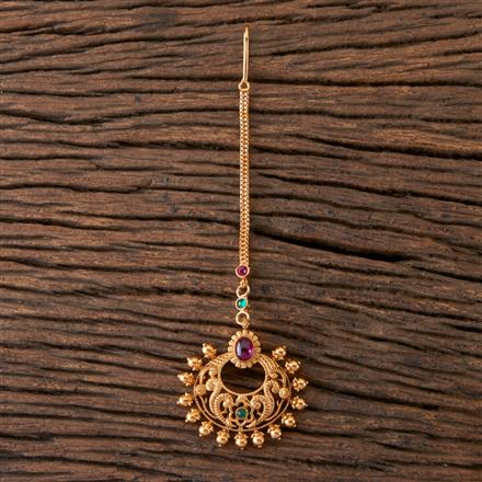 203587 Antique Temple Tikka With Matte Gold Plating