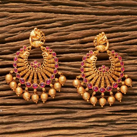 203590 Antique South Indian Earring With Matte Gold Plating
