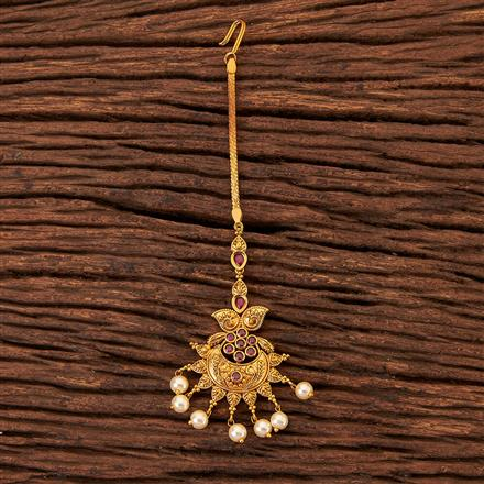 203712 Antique South Indian Tikka With Matte Gold Plating