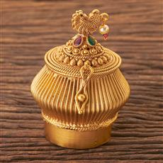 203755 Antique South Indian Sindoor Box With Matte Gold Plating