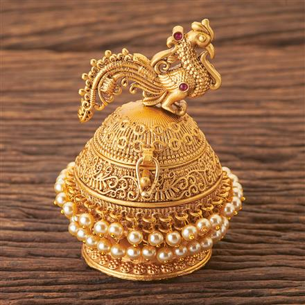 203756 Antique South Indian Sindoor Box With Matte Gold Plating