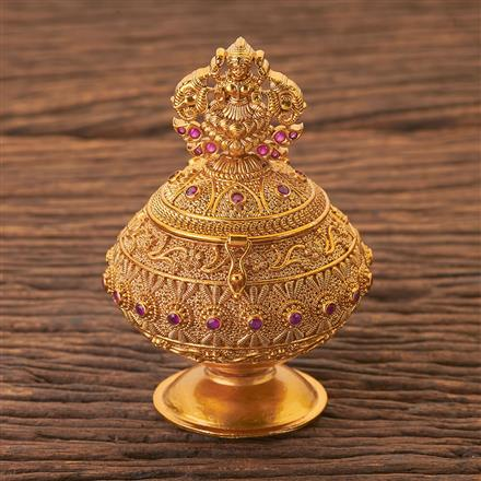 203960 Antique Classic Sindoor Box With Gold Plating
