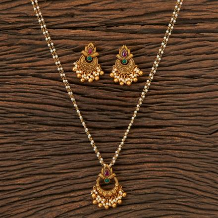 203981 Antique South Indian Pendant Set With Matte Gold Plating