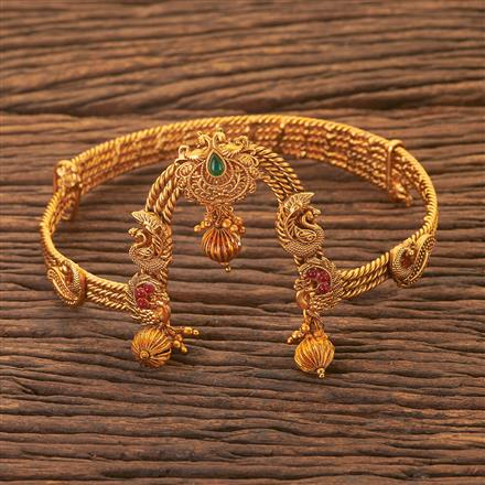 204068 Antique Peacock Baju Band With Matte Gold Plating
