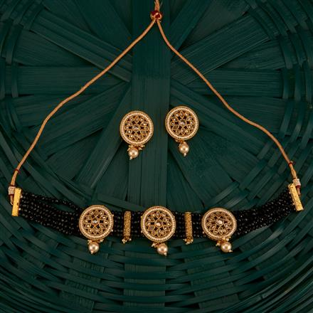 204178 Antique Mala Necklace With Gold Plating
