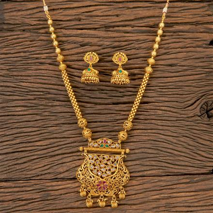 204212 Antique South Indian Pendant Set With Matte Gold Plating