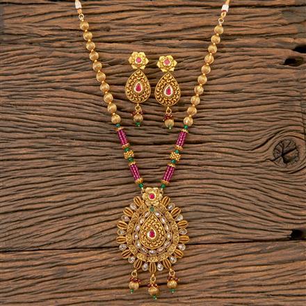 204214 Antique Mala Pendant Set With Gold Plating