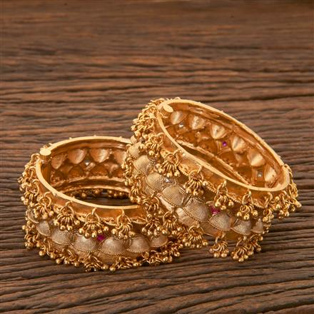204308 Antique South Indian Bangles With Matte Gold Plating